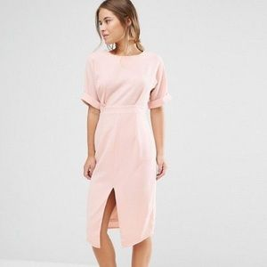 ASOS Blush Wiggle Dress with split front